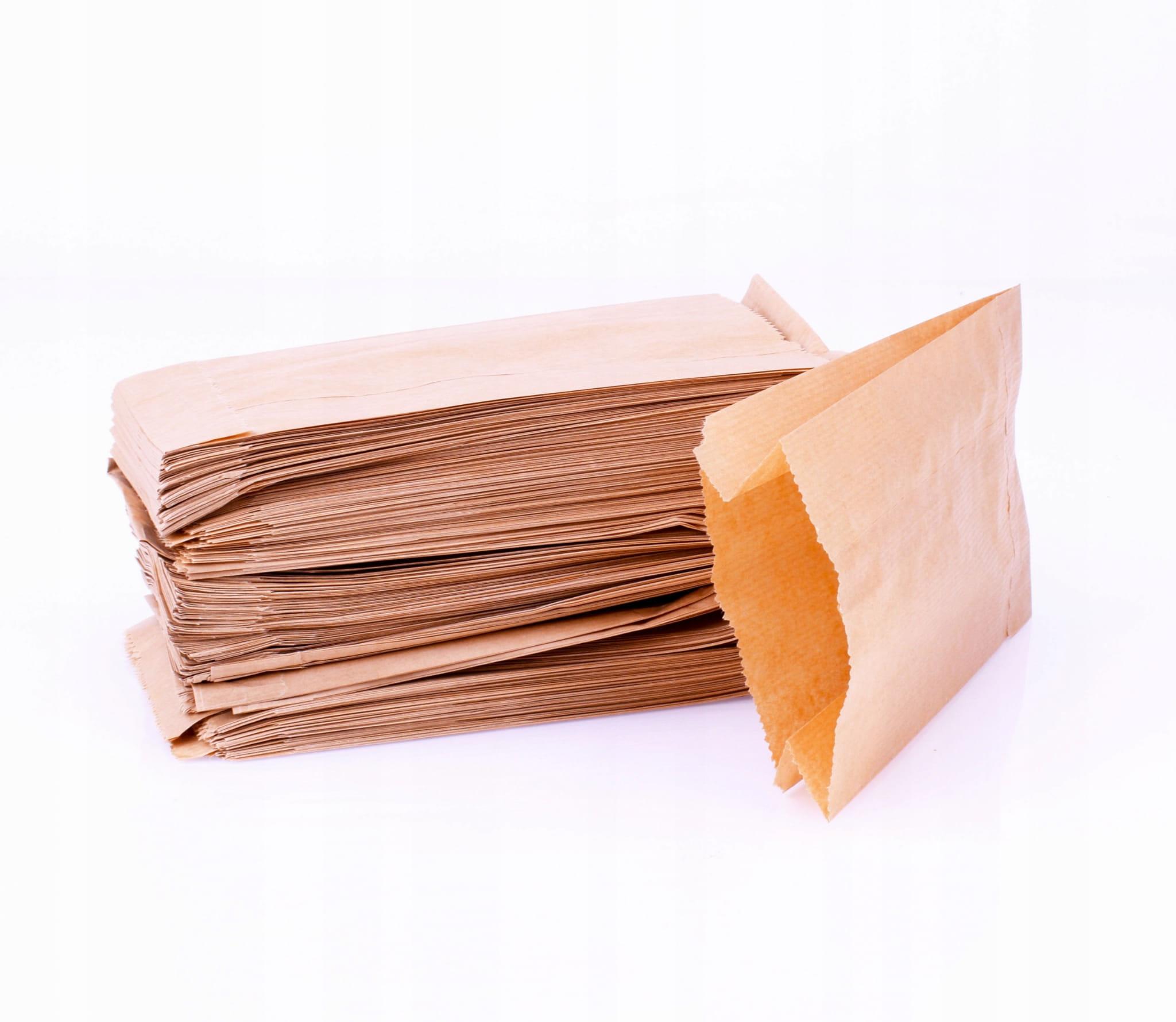 Torebki papierowe fałdowe 15x29 cm opk. 100 sztuk brąz